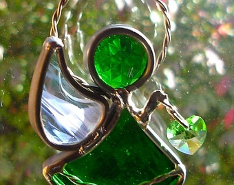 The Littlest Angel of Love in Stained Glass Green