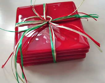 Simply Red Fused Glass Coasters Two and Two