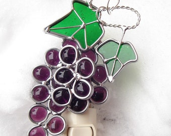 Petite Grapes  Stained Glass Night Light