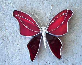 Royal Red Butterfly Stained Glass Suncatcher