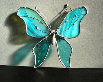 Turquoise Treasure Stained Glass Butterfly