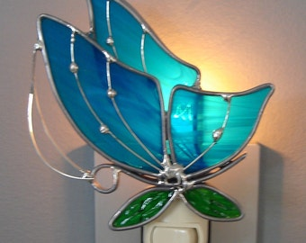 Sweet Nectar Butterfly  Stained Glass Night Light