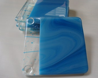 Cascading Waterfall Fused Glass Coasters