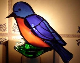 Little Bluebird Stained Glass Nightlight