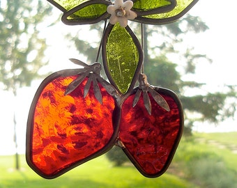 Strawberry Time  Stained Glass Suncatcher