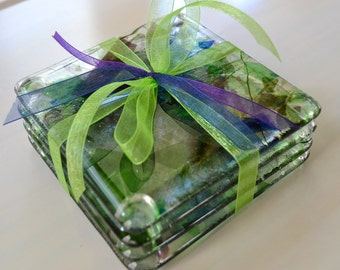 Spring Flower Vine Fused Glass Coasters