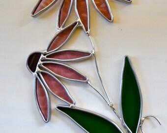 Lavender Plum Coneflower Stained Glass  Suncatcher