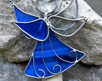 Blue Star Angel Stained Glass Night Light