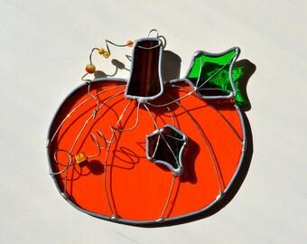 Pumpkin Time Stained Glass Suncatcher