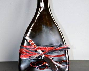 Dolce Rosso Slumped Wine Bottle Cheese Plate from Italy