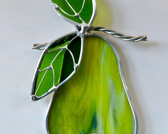Perfect Pear Stained Glass Suncatcher