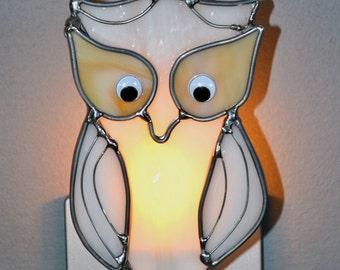Snowy Owl  Stained Glass Nightlight