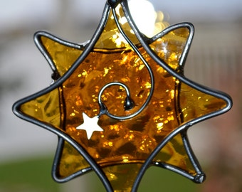 Golden Star  Stained Glass Suncatcher