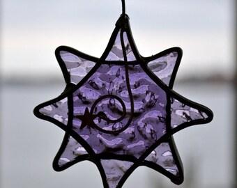 Twinkle Star  in Purple  Stained Glass Suncatcher