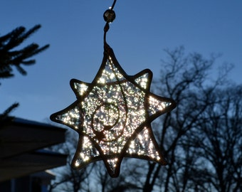 Crystal Iridescent Twinkle Star  Stained Glass Suncatcher