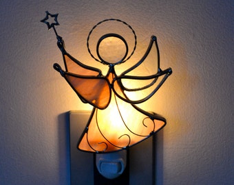 Petal Pink Star Angel Stained Glass Night Light