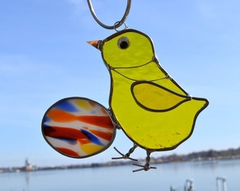 Easter Chick Stained Glass Suncatcher