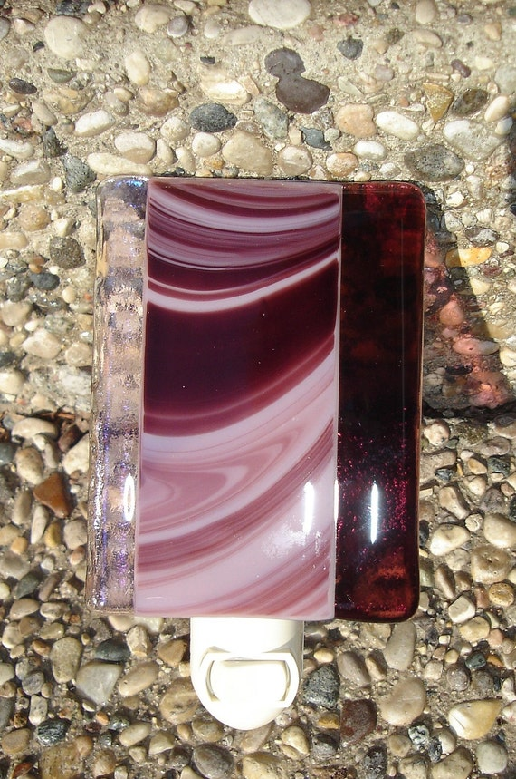 Plum Swirls Fused Glass Nightlight