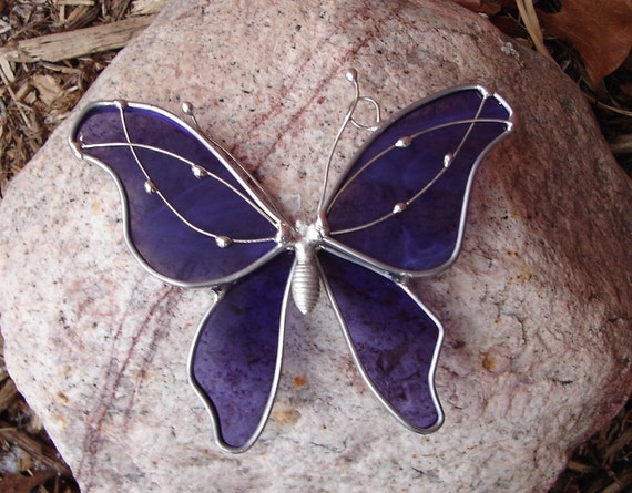 Regal Purple Butterfly Stained Glass Suncatcher