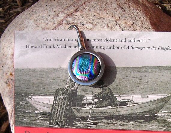 Fused Glass Cabochon  Bookmarker with Dichroic Glass