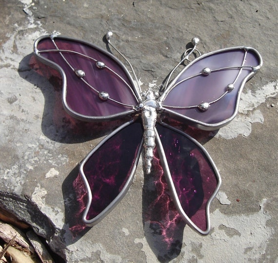 Lavender Plum Stained Glass Butterfly