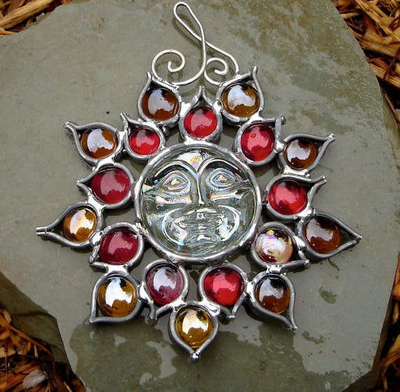 Red Yellow Sunface Moonface Flower Stained Glass Suncatcher