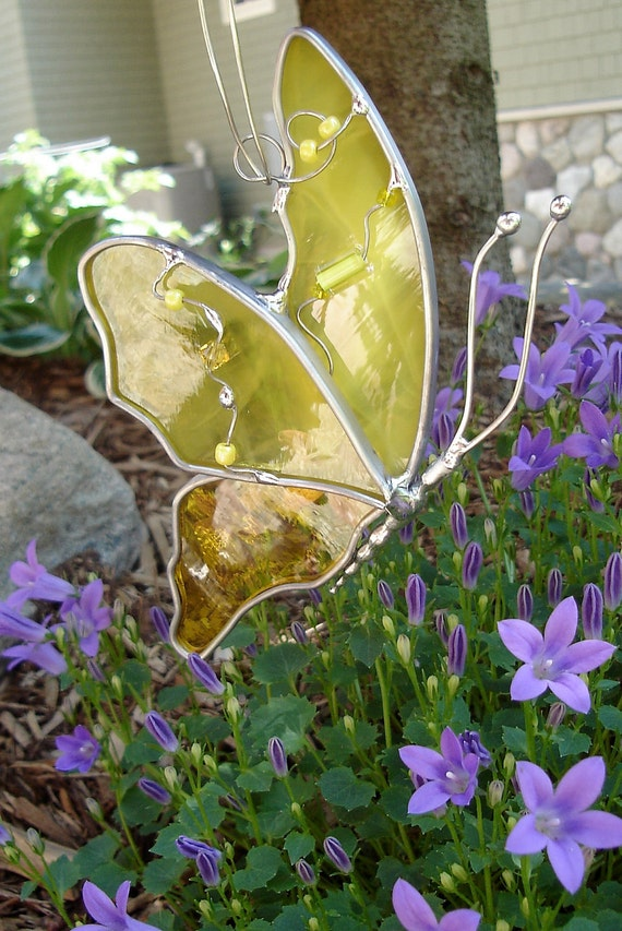Butterfly in Flight in Sunshine Yellow Stained Glass Suncatcher friendship gift