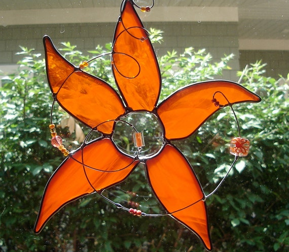 Star Flower in Tropical Orange Stained Glass Suncatcher