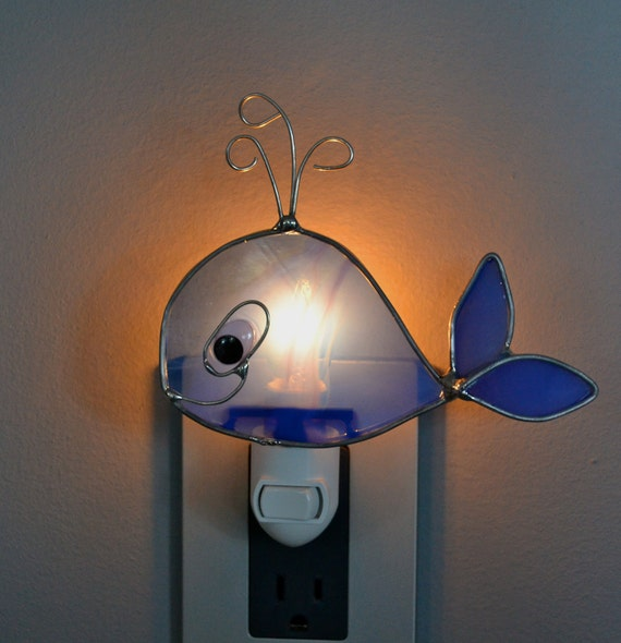 Baby Blue Whale  Stained Glass Nightlight