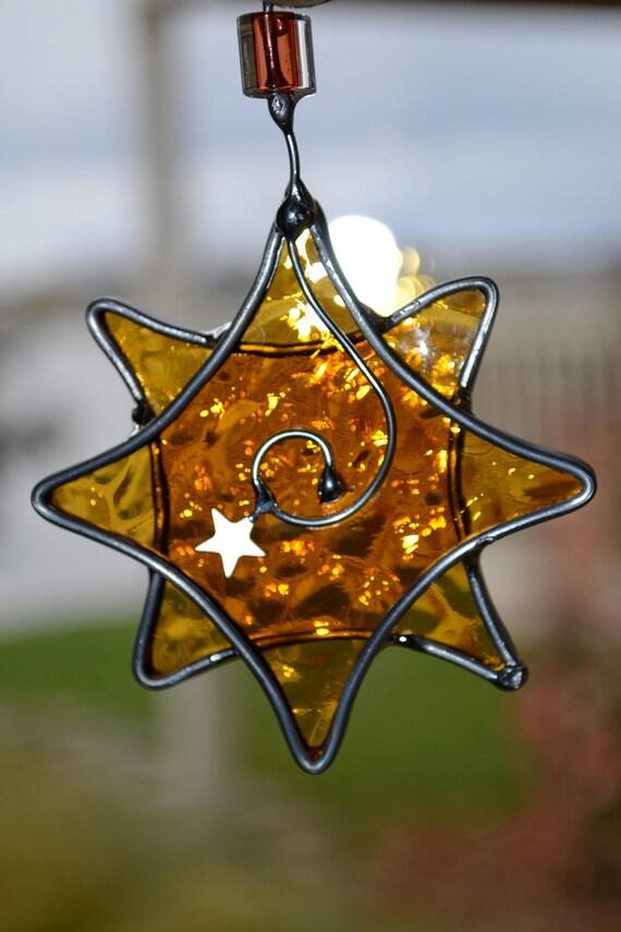 Golden Star  Stained Glass Suncatcher  starlight celestial suncatcher