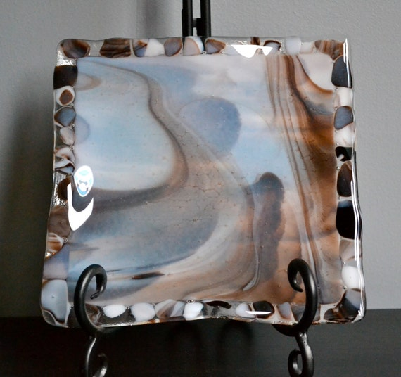"""River Rock  Fused Glass Square Plate-7"""""""