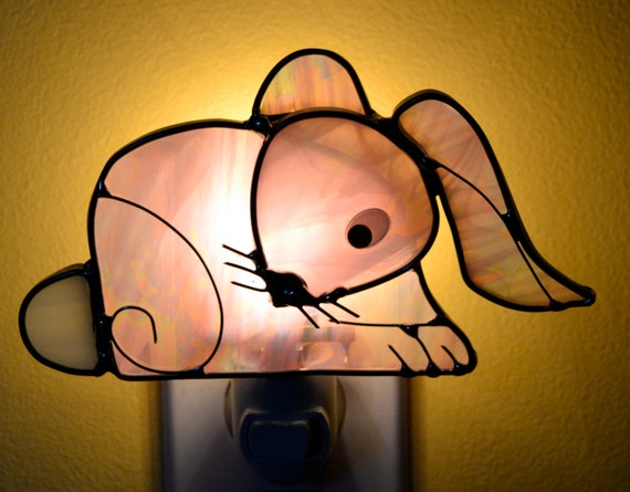 Baby Pink Bunny  Stained Glass Nightlight