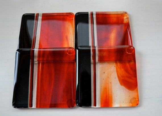 Flame Red Fused Glass Coasters