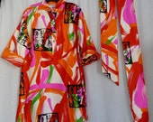 vintage catherine ogust for penthouse gallery bright neon belted tunic mini dress