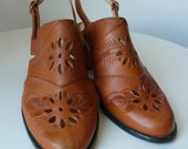 vintage tooled leather chunky heel slingback shoes