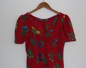 1980s betsey johnson punk label red rayon floral top