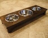 """Raised Dog Feeder 2 Qt and 1 Qt 4"""" Triple Classic Design - Elevated Pet Feeder - Raised Dog Bowl - Elevated Dog Bowl - Dog Bowl Stand"""