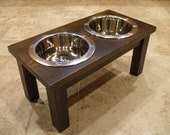 Elevated Pet Feeder - 1 Qt 8 Inch Double Classic Design - Raised Dog Food Bowl - Wooden Pet Feeder - Elevated Dog Dish - Raised Dog Dish