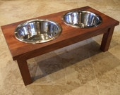 2 Quart 8 Inch Double - Ergonomically Designed Elevated Pet Feeder - Stained the Color of Your Choice