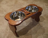 Raised Dog Feeder 2 Qt 12 Inch Double - Elevated Pet Feeder - Raised Dog Bowl - Elevated Dog Bowl - Dog Bowl Stand - Bone Shaped - Large Dog