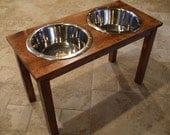 Elevated Pet Feeder - 3 Qt 16 Inch Double Classic Design - Raised Dog Food Bowl - Wooden Pet Feeder - Elevated Dog Dish - Raised Dog Dish