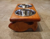 Raised Cat Feeder 1 Pint 4 Inch Double - Raised Cat Bowl - 2 Bowl Cat Feeder - Elevated Cat Feeder - Cat Feeding Station - Cat Bowl