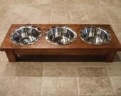 Raised Cat Feeder 1 Pint 4 Inch Triple - Raised Cat Bowl - 3 Bowl Cat Feeder - Elevated Cat Feeder - Cat Feeding Station