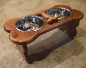1 Quart 8 Inch Double - Ergonomically Designed Pet Feeder - Stained the Color of Your Choice