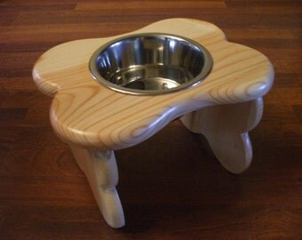 1 Quart 8 Inch Single - Ergonomically Designed Pet Feeder - Stained The Color Of Your Choice