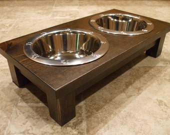 Raised Dog Feeder 1 Qt 4 Inch Double - Classic Design - Elevated Pet Feeder - Raised Dog Bowl - Elevated Dog Bowl - Dog Bowl Stand