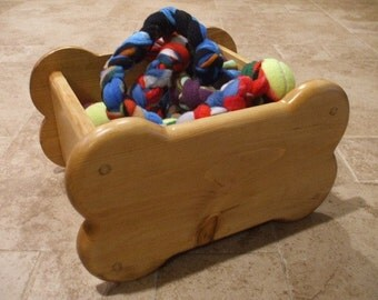 Dog Toy Box - Small Bone Shaped Wooden Toy Box - Dog Toy Storage - Dog Toy Bin - Bone Shaped Dog Toy Box