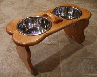 2 Quart 12 Double - Ergonomically Designed Elevated Pet Feeder - Stained Gunstock