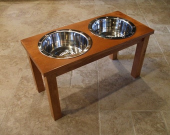 Raised Dog Feeder 2 Qt 12 Inch Double - Elevated Pet Feeder - Raised Dog Bowl - Elevated Dog Bowl - Dog Bowl Stand - Large Dog Pet Feeder