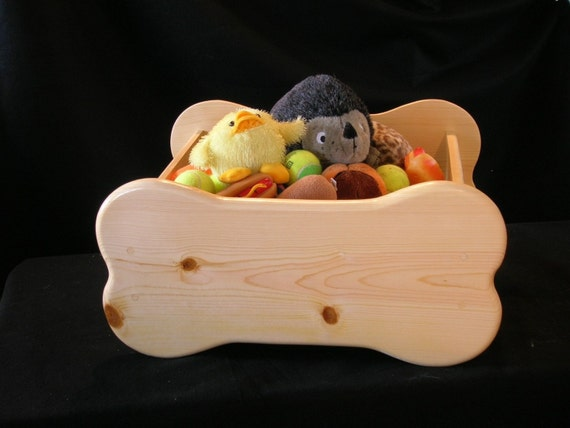 Large New Wooden Storage Box Diy Crates Toy Boxes Set: Pet Toy Box Large Bone Shaped Stained The Color Of By